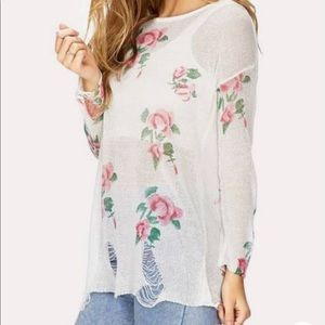 Forever 21 Thin Ripped Floral Sweater